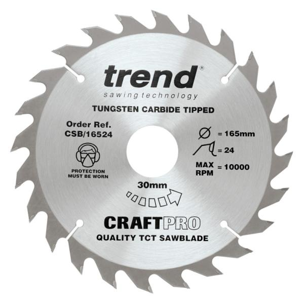 "Trend CSB/16524 165mm(6 1/2"") 30B 24T CRAFT SAW BLADE"