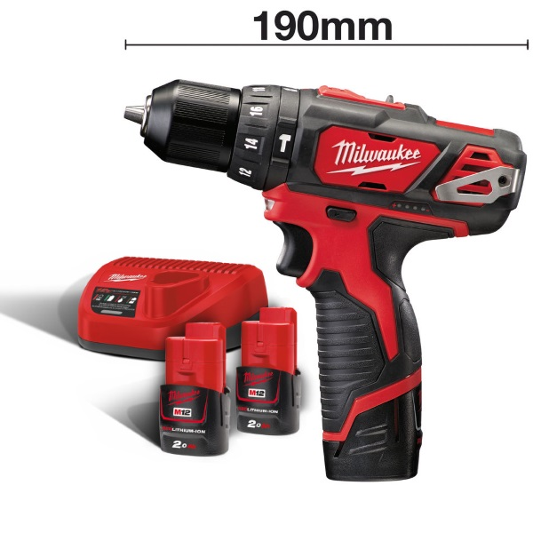 Milwaukee M12BPD-202C M12 Sub Compact Percussion Drill Kit
