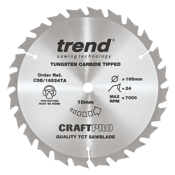 "Trend CSB/16524TA 165mm(6 1/2"") 10B 24T CRAFT SAW BLADE"