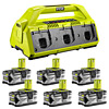 Ryobi RC18627 18V ONE+ 6-Port Charger 4.0Ah Kit