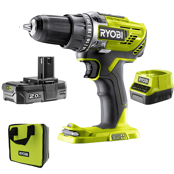 Ryobi R18DD3-120S 18v Drill Driver Kit with 2Ah Battery & Charger