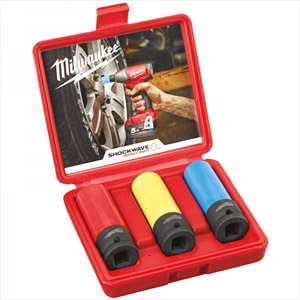 "Milwaukee 4932451568 3 Piece 1/2"" Drive ShockWave Impact Socket Set"