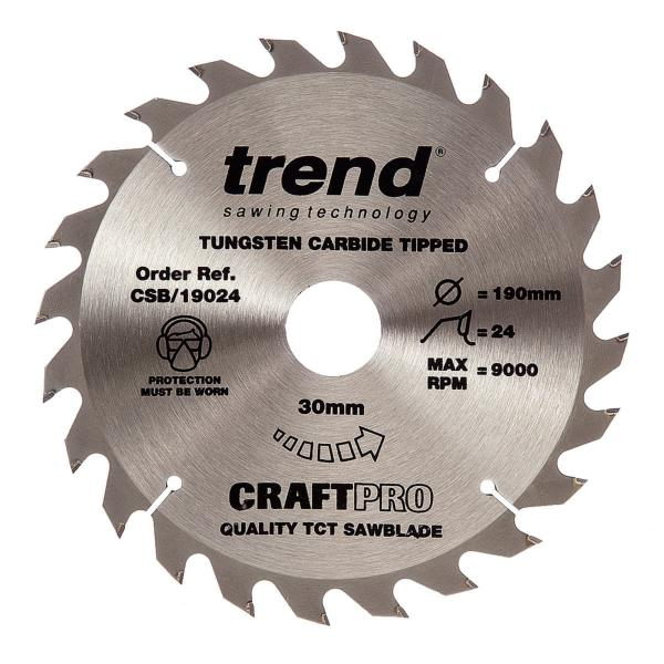 "Trend CSB/19024 190mm(7 1/2"") 30B 24T CRAFT SAW BLADE"