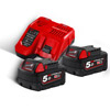 Milwaukee M18NRG-502 Twin Pack of 5.0Ah Batteries & Charger