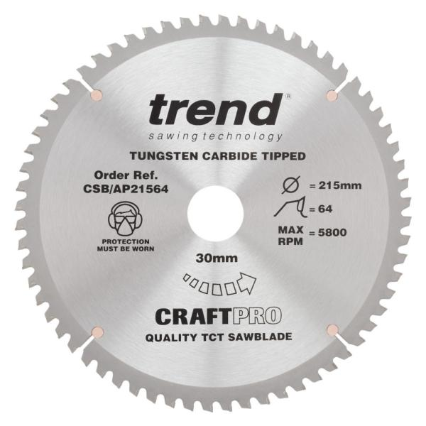 "Trend CSB/AP21564 215mm(8 1/2"") 30B 64T CRAFT SAW BLADE"