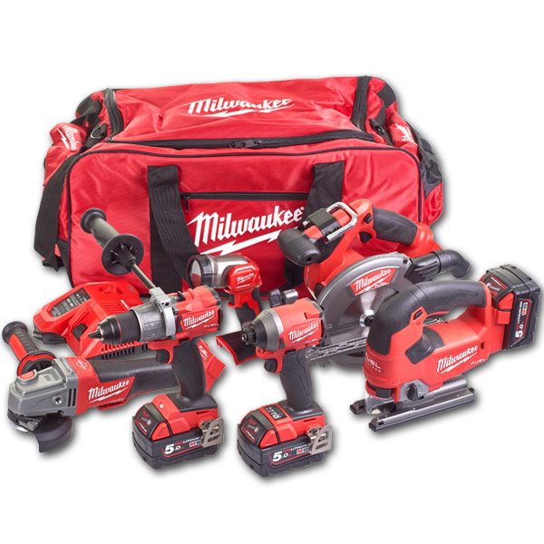 Milwaukee M18FPP6D2-503B M18 FUEL 6-Piece Kit with 3 x 5Ah Batteries