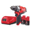 Milwaukee 12v Fuel Combi Drill Kit c/w 2 x 2Ah Batteries M12FPD-202B
