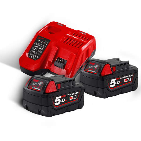 Milwaukee M18NRG-502 Twin Pack of 5Ah Batteries and Charger Kit