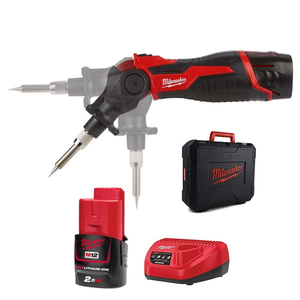 Milwaukee M12SI-201C M12™ Soldering Iron (1xPointed Tip,1xFlat Tip,1x2.0Ah Battery,Charger, BMC)