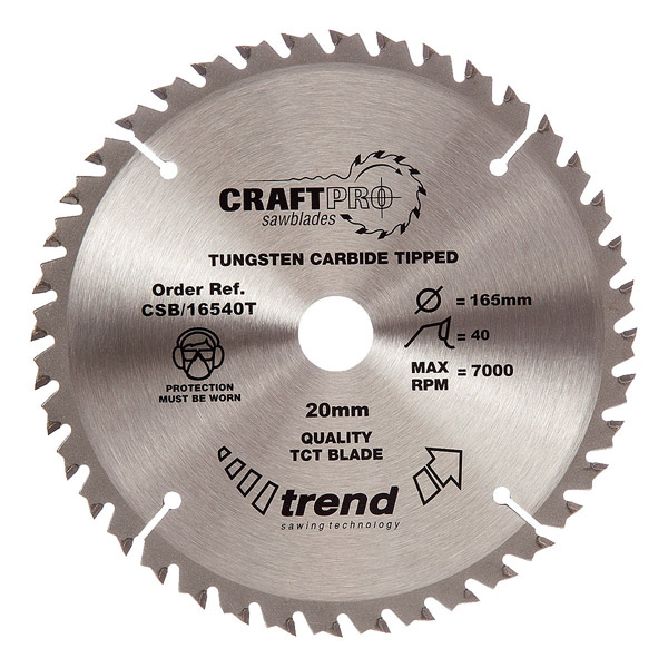 "Trend CSB/16540T 165mm(6 1/2"") 20B 40T CRAFT SAW BLADE"