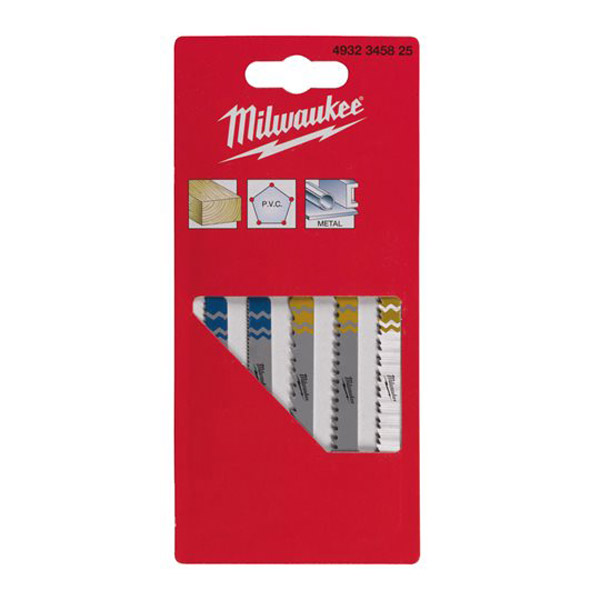 Milwaukee 5 Piece Mixed Jigsaw Blade Set 4932345825