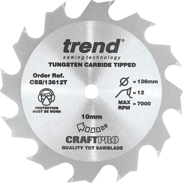 "Trend CSB/13612T 136mm(5 3/8"") 10B 12T CRAFT SAW BLADE"