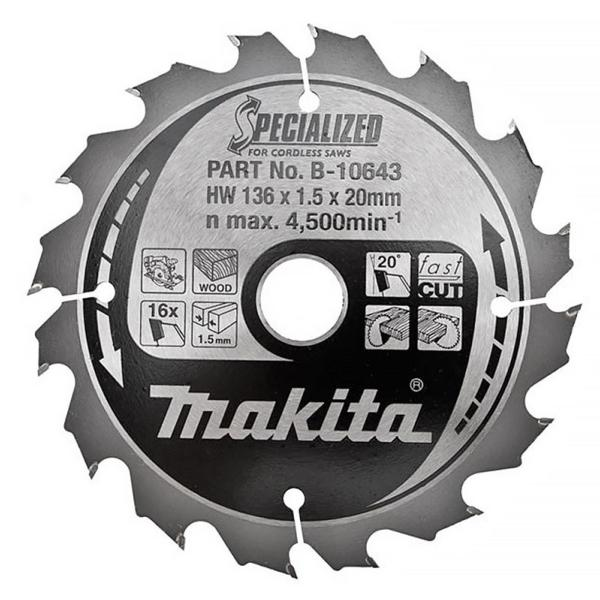 "Makita B-10643 136mm(5 3/8"") 20B 16T C/SAW BLADE"