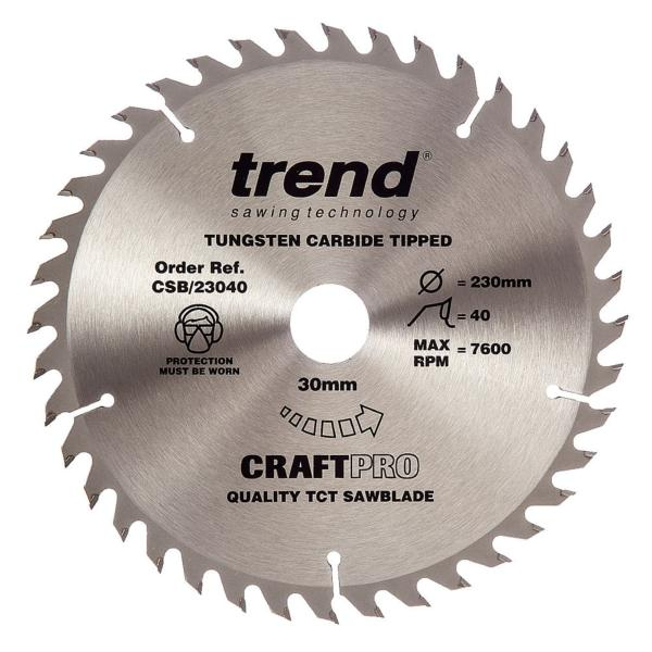 "Trend CSB/23040 230mm(9"") 30B 40T CRAFT SAW BLADE"
