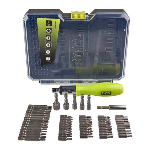 Ryobi 59 Piece Screwdriving Set with Screwdriver RAK59SD