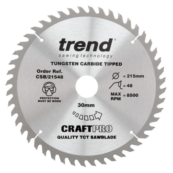 "Trend CSB/21548 215mm(8 1/2"") 30B 48T CRAFT SAW BLADE"