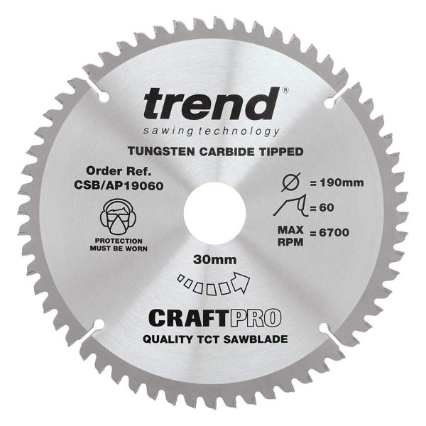 "Trend CSB/AP19060 190mm(7 1/2"") 30B 60T CRAFT SAW BLADE"