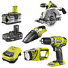 Ryobi One+ 4 Item Kit (R18CS, R18DDP2-0, R18HV, CML180M)