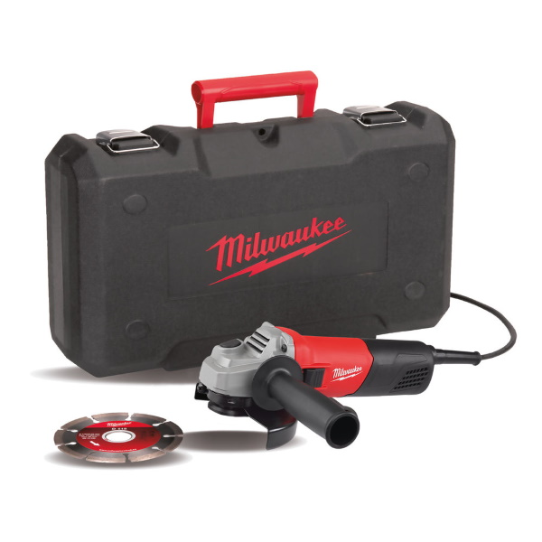 Milwaukee 115mm Angle Grinder w/ Case & Diamond Blade 240v