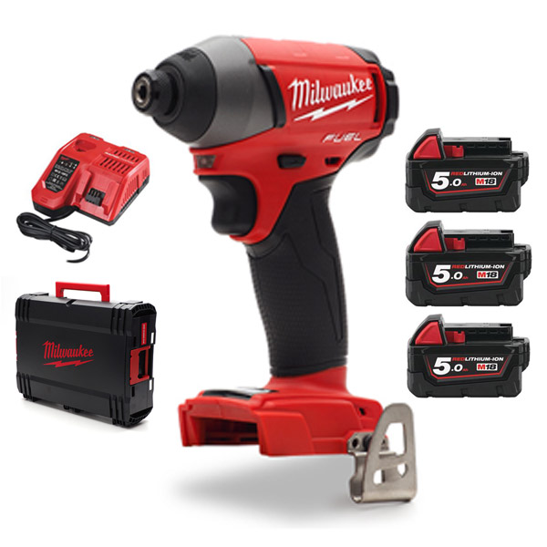 Milwaukee 18v Fuel Impact Driver kit with 3 x 5Ah Batteries