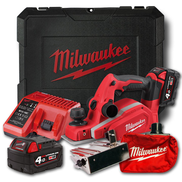 Milwaukee M18BP-402C 18v Cordless Planer Kit (2 x 4.0Ah)