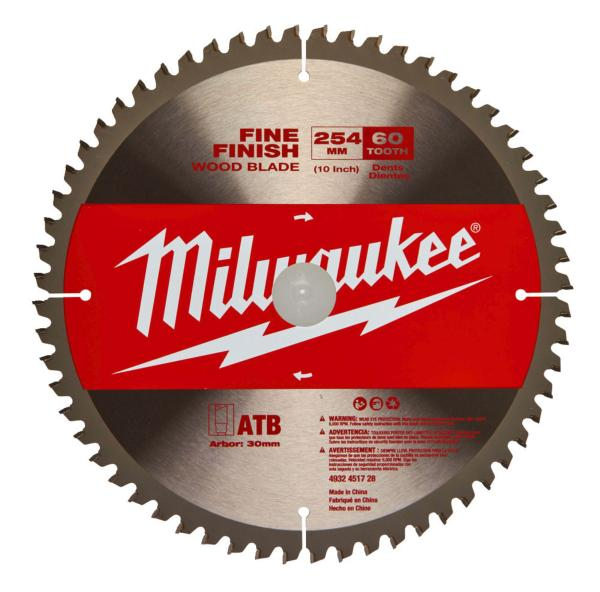 Milwaukee 4932451728 254mm (10 inch) blade 60T to fit M18FMS254-0