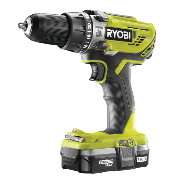 Ryobi R18PD3-113G 18V Combi Drill with 1 x 1.3Ah Battery and Charger