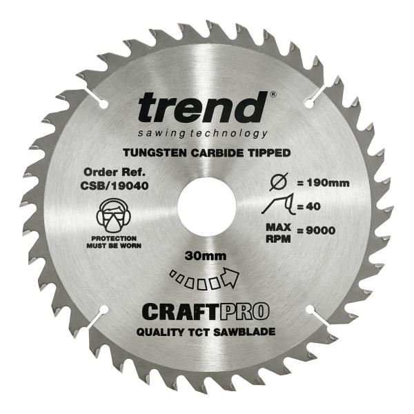 "Trend CSB/19040A 190mm(7 1/2"") 16B 40T CRAFT SAW BLADE"