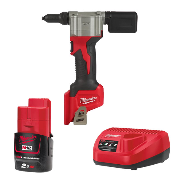 Milwaukee M12BPRT-201X Pop Rivet Tool Kit 1 x 2A Battery