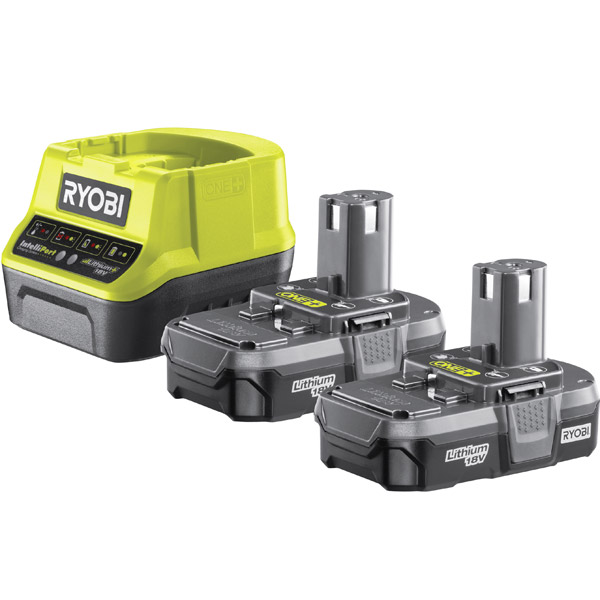 Ryobi 18V ONE+ Twin 1.3Ah Batteries and Charger Kit RC18120-213